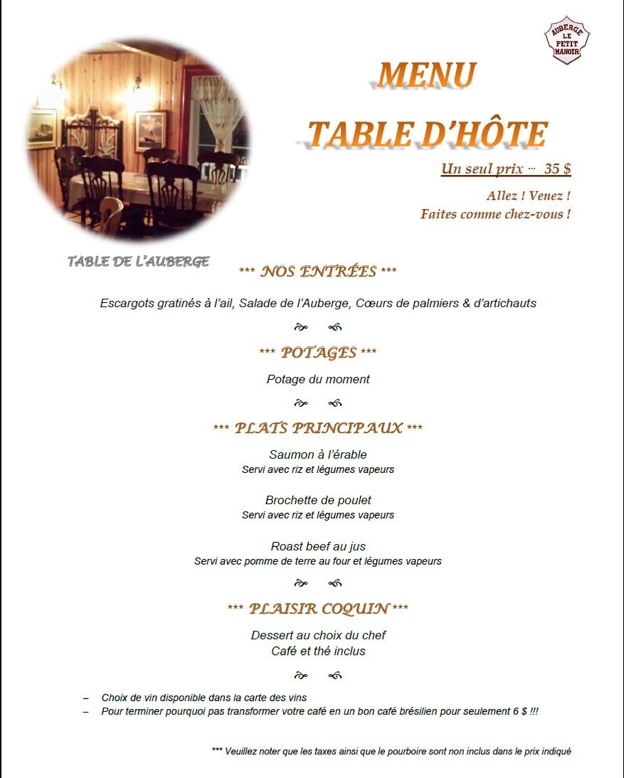 Menu table_dhote